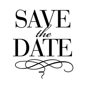 """Save the Date"" Stamp – Three Designing Women"