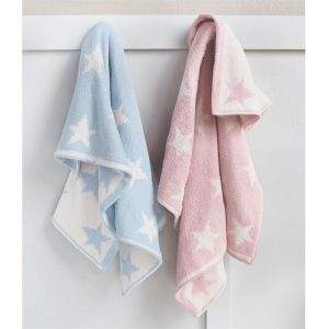 Star Chenille Baby Blanket – Blue or Pink – Mudpie