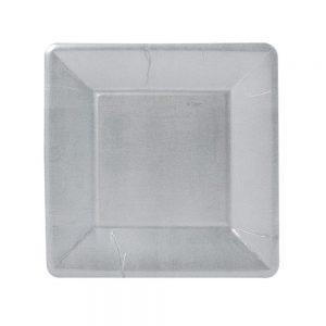 Silver Leaf Square Paper Salad & Dessert Plates – Caspari