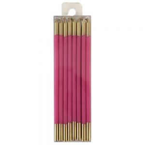 Fuchsia & Gold Slim Birthday Candles – Caspari