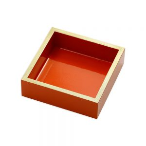 Lacquer Cocktail Napkin Holder in Orange – Caspari