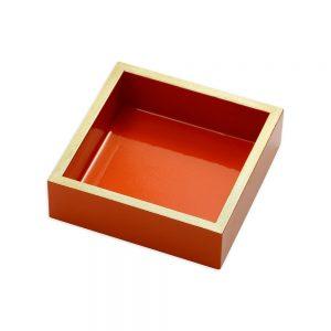 Lacquer Cocktail Napkin Holder in Orange – Caspari