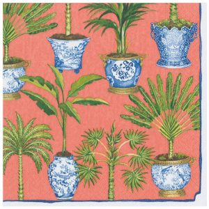 Potted Palms Paper Dinner Napkins in Coral – Caspari