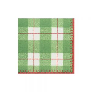 Plaid Check Paper Linen Cocktail Napkins – Caspari