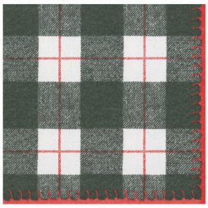 Plaid Check Paper Linen Dinner Napkins – Caspari