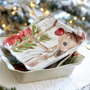 Casafina™ | Deer Friends | Square Platter – Linen